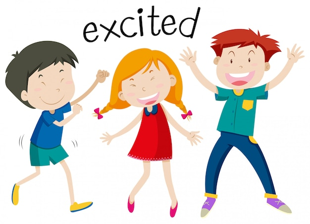 English vocabulary of excited
