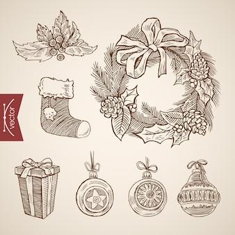 Гравированные рождественские иллюстрации