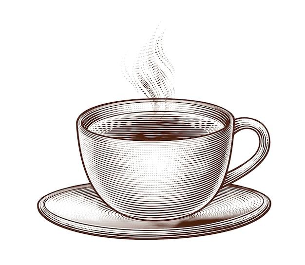 Гравированная чашка кофе на белом фоне