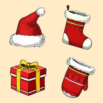 Гравировка рисованной в старом эскизе и винтажном стиле для этикетки. счастливого рождества или рождество и новогодняя коллекция. зимние праздничные украшения. подарок и сапоги, шапка и варежки.
