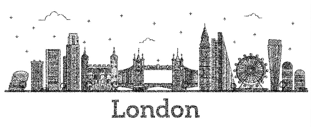 Engraved london england city skyline with modern buildings isolated on white. vector illustration. london cityscape with landmarks.