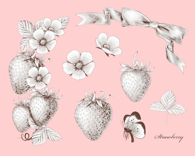 밝은 분홍색 표면에 새겨진 딸기와 꽃 요소