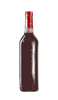Гравированная иллюстрация стиля. ручной обращается эскиз бутылки вина