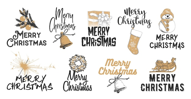 Engraved style illustrations with typography . hand drawn sketch set christmas