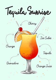 Engraved style tequila sunrise cocktail illustration hand drawn sketch with lettering and recipe
