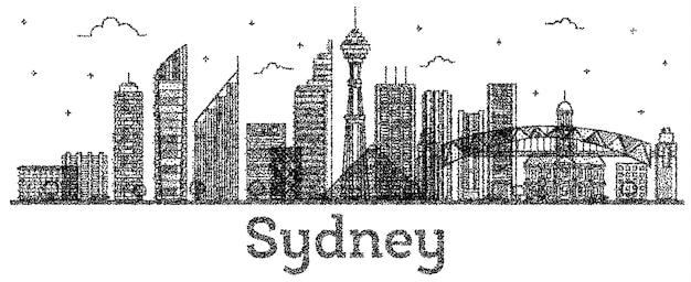 Выгравированный горизонт города сидней австралия с современными зданиями, изолированными на белом. векторные иллюстрации. сиднейский городской пейзаж с достопримечательностями.