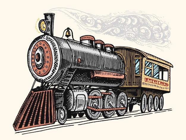 빈티지, 손으로 그린, 오래 된 기관차 또는 미국 철도에 증기와 기차 새겨진. 레트로 교통.