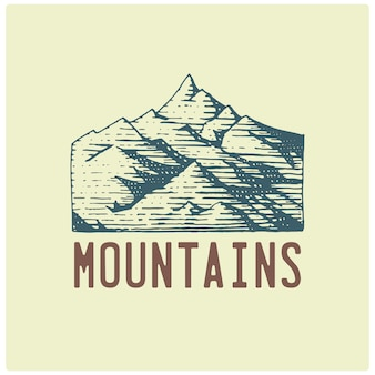Engraved vintage logo with mountains in hand drawn, sketch style, old looking retro badge for national parks and camping, alpine and hiking theme