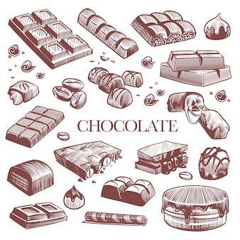 Engraving black chocolate bars truffle sweets and coffee beans