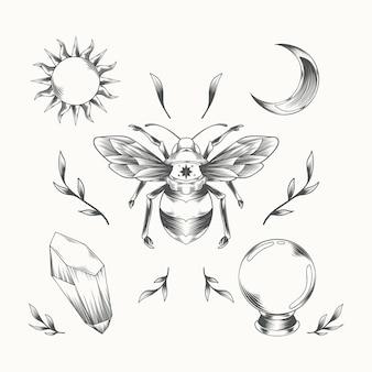 Набор элементов гравировки в стиле бохо