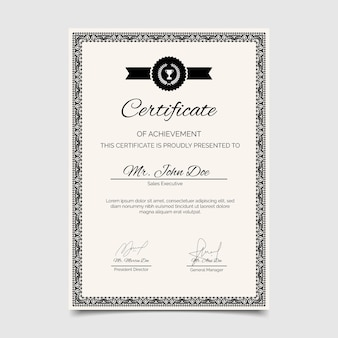 Engraving certificate of achievement template