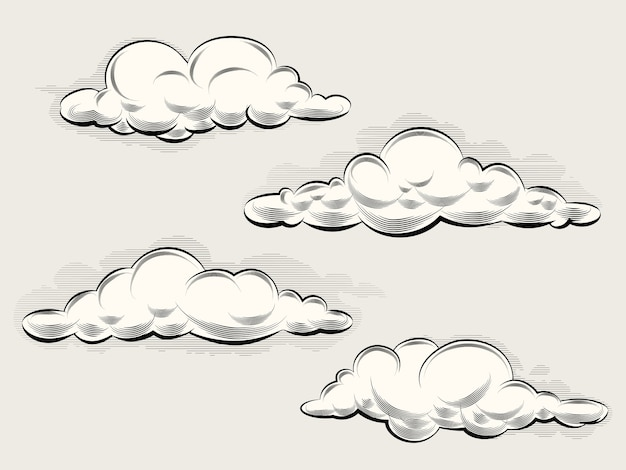 Engraving clouds. vintage elements for art and design. vector illustration