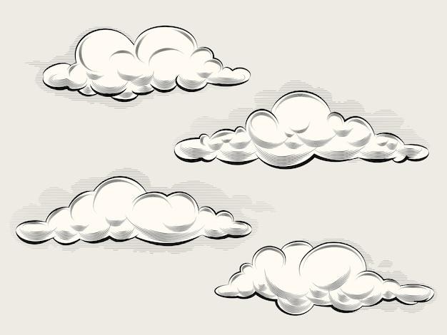 Гравировка облаков. винтажные элементы для искусства и дизайна. векторная иллюстрация