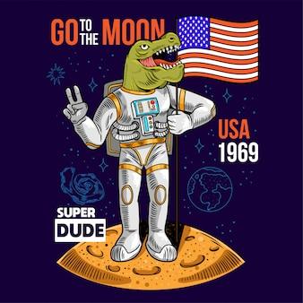 Гравюра крутого чувака в скафандре dino t-rex держат американский флаг сша на луне при первом полете на луну космической программы apollo. мультфильм комиксов поп-арт для печати дизайн футболки одежда плакат для детей.