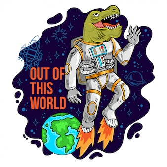 Engraving cool dude in space suit astronaut dino t rex flying out of this world in space between stars planets galaxies. cartoon comics pop art for print design t-shirt apparel tee poster for children