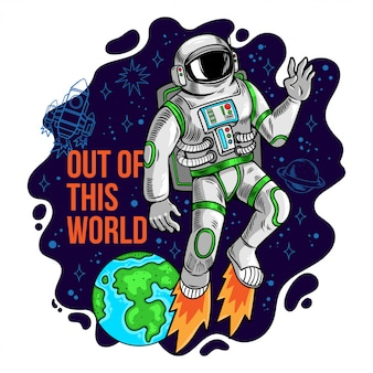 Engraving cool dude in space suit astronaut spaceman flying out of this world in space between stars planets galaxies. cartoon comics pop art for print design t-shirt apparel tee poster for children.