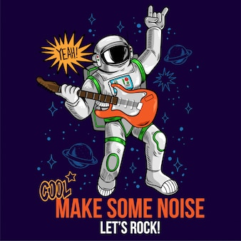 Engraving cool dude in space suit rock star astronaut play rock music on electric guitar between stars planets galaxies.