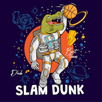 Engraving dino t-rex play basketball and make slam dunk between stars planets galaxies.