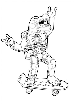 Engraving draw funny cool dude astronaut t rex tyrannosaurus ride on skateboard in space suit. vintage cartoon character illustration comics pop art style isolated