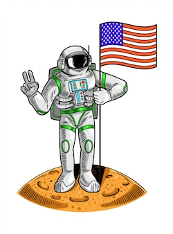 Engraving draw with astronaut spaceman on moon hold american usa flag the first flight of human on moon space program apollo. vintage cartoon character illustration for print on t shirt