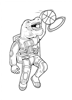 Engraving draw with astronaut t rex which play basketball and make slam dunk. vintage cartoon character illustration comics pop art style isolated