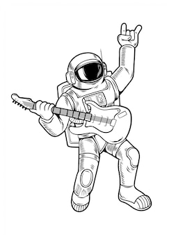 Engraving draw with cool dude astronaut spaceman rock star play on guitar in space suit. vintage cartoon character illustration comics pop art style isolated