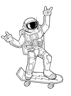 Engraving draw with funny cool dude astronaut spaceman ride on skateboard in space suit. vintage cartoon character illustration comics pop art style isolated