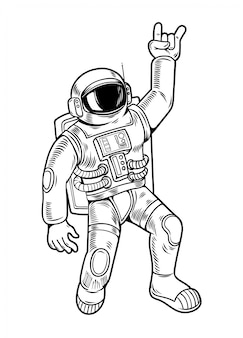 Engraving draw with funny cool dude astronaut spaceman in space suit. vintage cartoon character illustration comics pop art style isolated