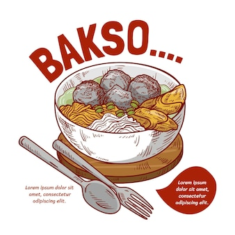 Engraving drawn bakso in a bowl