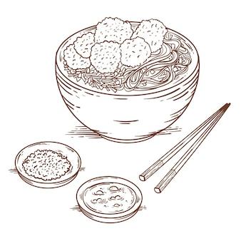Гравюра нарисованного баксо в миске
