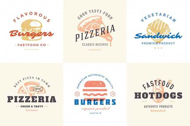 Engraving fast food logos and labels with modern vintage typography hand drawn style set.