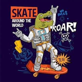 Engraving funny cool dude in space suit skater dino green t rex ride on space skate board between stars planets galaxies. cartoon comics pop art for print design t shirt apparel
