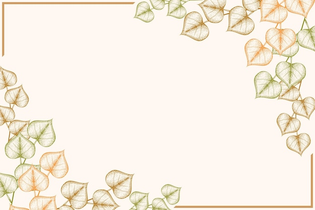 Engraving hand drawn autumn leaves background