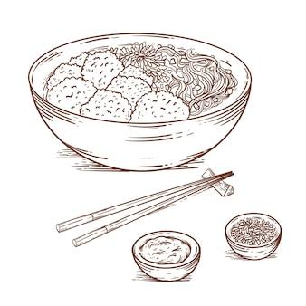 Engraving hand drawn bakso in bowl