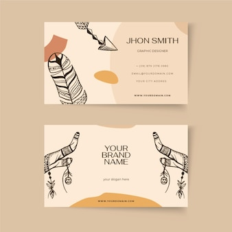 Гравюра рисованной шаблон визитной карточки в стиле бохо