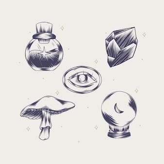 조각 손으로 그린 boho 요소 컬렉션