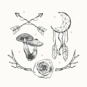 Collezione di elementi boho disegnati a mano con incisione