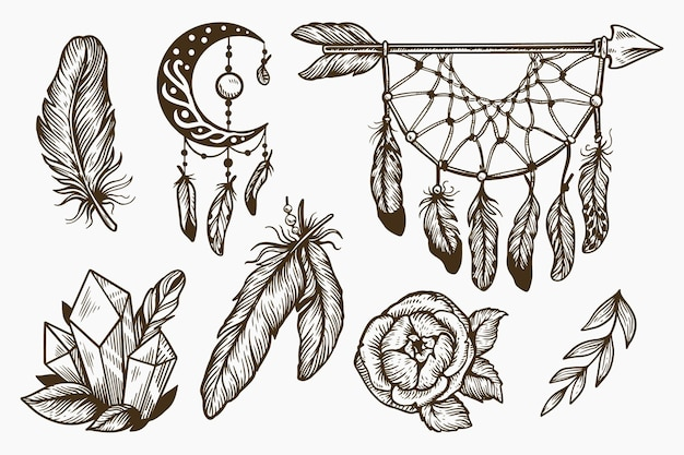 Engraving hand drawn boho element collection