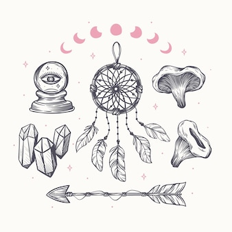 Engraving hand drawn boho elements collection