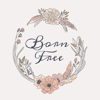 Engraving hand drawn boho frame