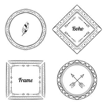 Гравировка, набор рисованной бохо рамок