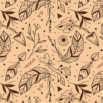 Engraving hand drawn boho pattern design