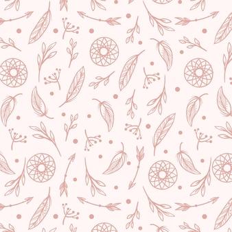 조각 손으로 그린 boho 패턴 디자인