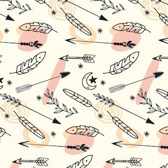 조각 손으로 그린 boho 패턴