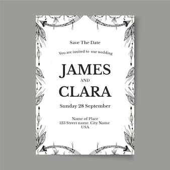 Engraving hand drawn boho wedding invitation template