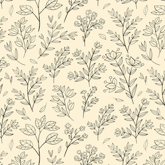 Гравюра рисованной ботанический узор дизайн
