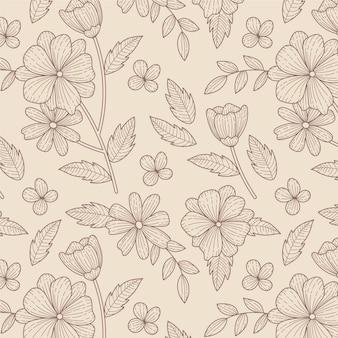 조각 손으로 그린 식물 패턴 디자인