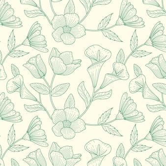 Engraving hand drawn botanical pattern design