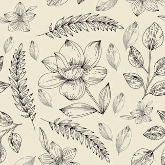 手描きの植物柄の彫刻