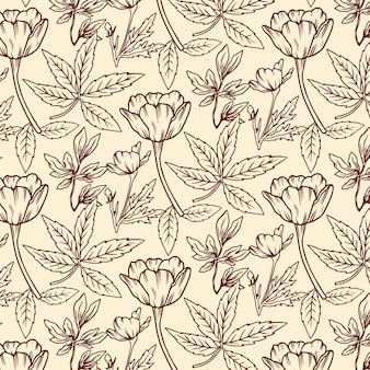 손으로 그린 식물 패턴 조각 무료 벡터